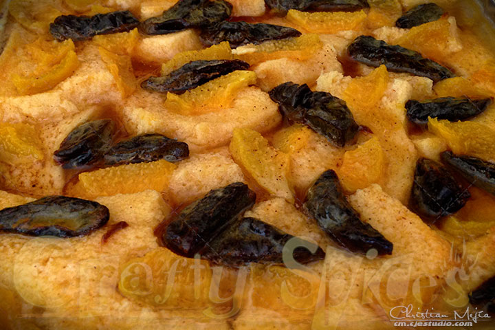 Peach Prune Bread Pudding