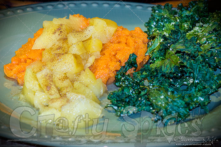 Sweet potato topped with Apple - pineapple chutney, and Kale Chips