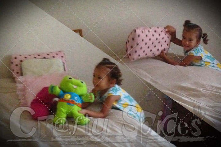 She put the bed cover, the cushions and her froggy to finish it off
