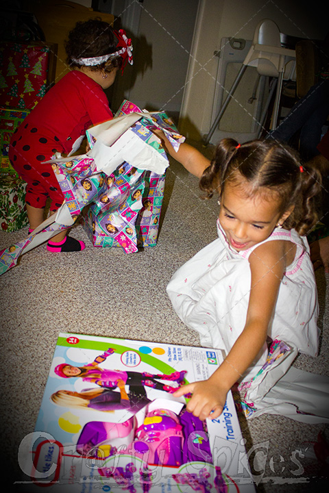 Kira opening her Christmas Presents