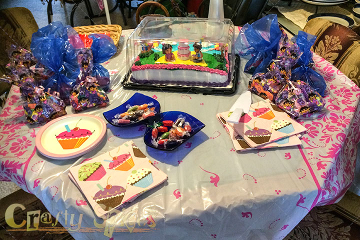 Birthday Cake and Favors Table