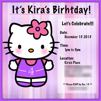 Kira's Birthday Party Digital Invitation