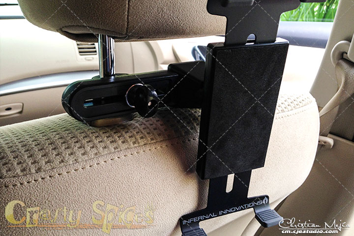 Infernal Innovations Car Tablet Headrest Mount installed