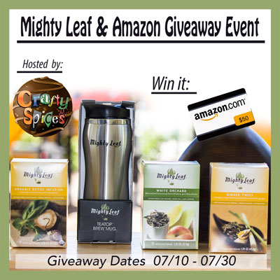 Mighty Leaf Tea pack (ARV $47) and a $50 Dollar Amazon Gift Card Giveaway ends 7/30