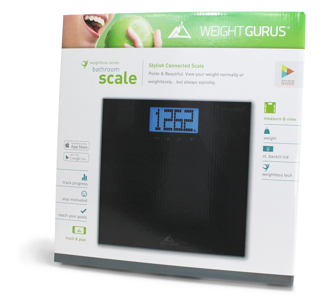 Weight Gurus Smartphone Connected Digital Bathroom Scale with Large Backlit LCD and Weightless Technology(c)