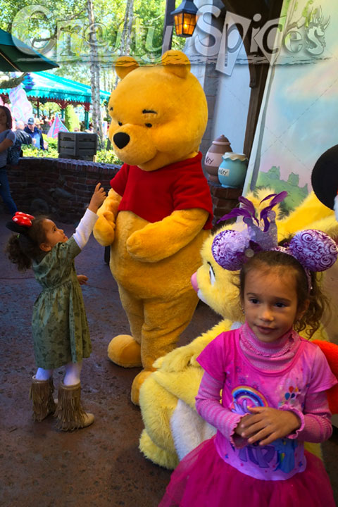 Kira and Kaylee with Pooh and friends
