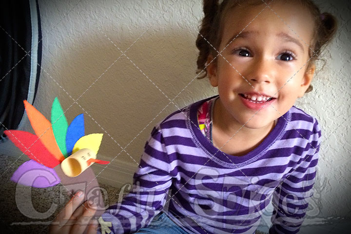 Kira with her Colorful Thanksgiving Turkey